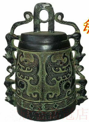 Wonderful Chinese statue Bronze Chimes bell carved nice images no reserve price