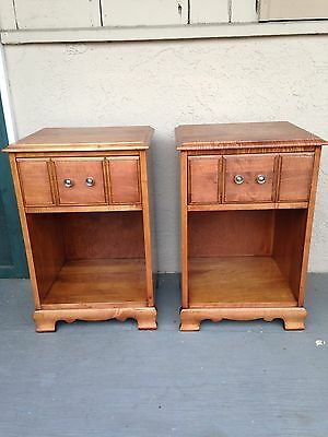 Set of 2 / Pair of Refinished Vintage Solid Pine Nightstands