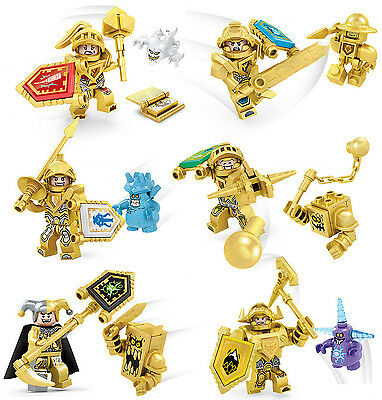 6 SET Mini Figures Gold NEXO KNIGHTS VS Evil Corps Building Block toys Fit Lego