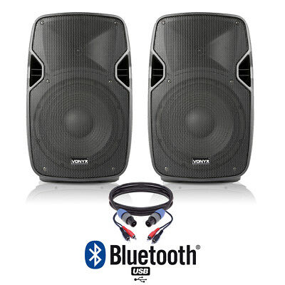 """Pair of Active Powered 10"""" Bluetooth DJ PA Disco Speakers with Cables 800 Watts"""