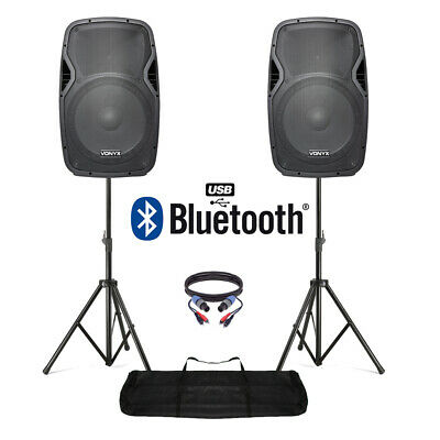 "Active Powered 15"" Bluetooth DJ PA Disco Speaker Set with Stands & Cables 1600W"