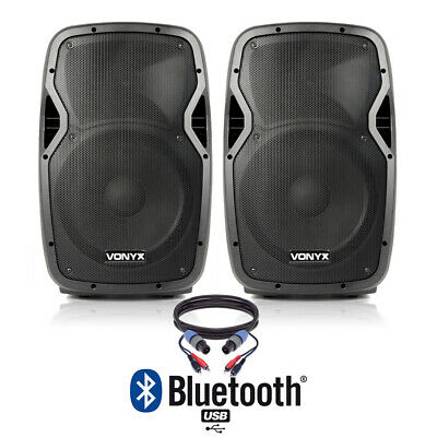"Pair of Active Powered 12"" Bluetooth DJ PA Disco Speakers with Cables 1200 Watts"