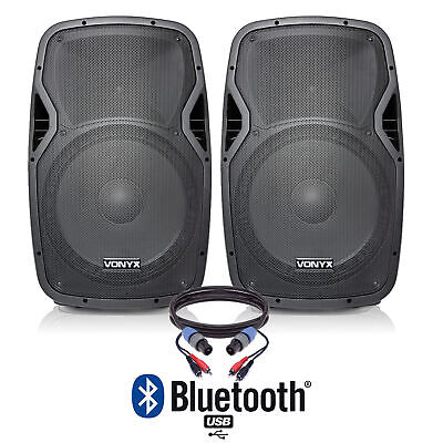 """Pair of Active Powered 15"""" Bluetooth DJ PA Disco Speakers with Cables 1600 Watts"""