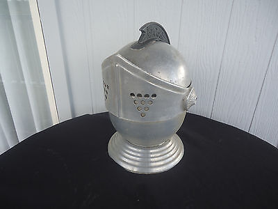 vintage retro suit of armour helmet ice bucket aluminium