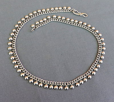 Heavy Vintage  Sterling Silver Curb Chain with Attached Domes Necklace