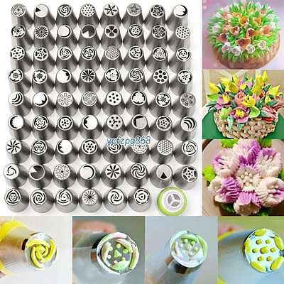 63Pcs Stainless Steel Russian Icing Piping Nozzles Cake Cupcake Tips Pastry Set