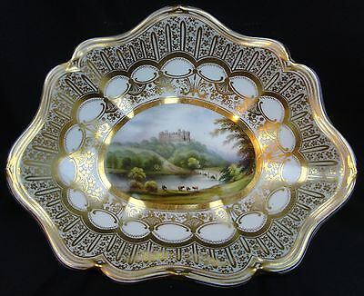 Antique 19th Century Davenport Topographical Footed Tray Belvair Castle England