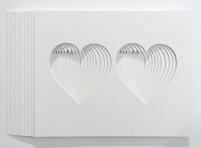 "Pack of 10, Pair of  Hearts Shaped Photo/Picture Mounts to Fit 10""x8"" frames"