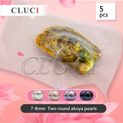 Funning gift round Akoya two pearl in oyster 7-8mm 10pcs - Free shipping