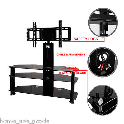 """Black Tempered Glass TV Stand With Bracket Cantilever For 42"""" 30-49"""" Plasma LED"""