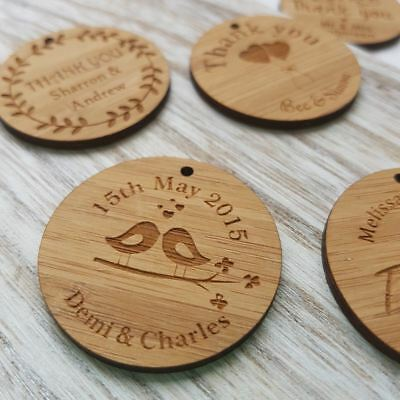 10 x Small Personalised Wooden Wedding Thank you Timber Gift Tags