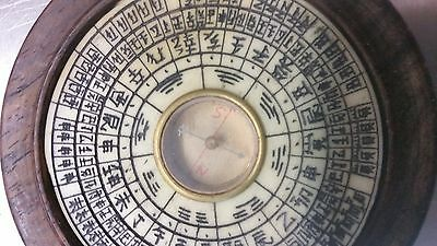 vintage old chinesejapanese compass in a wooden box