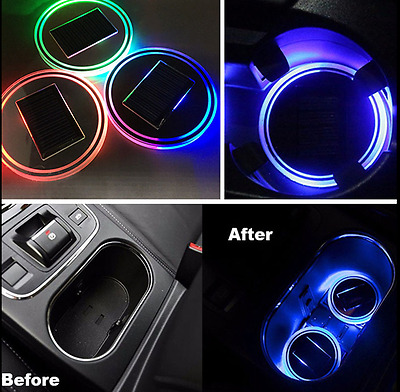 2pc Solar BLUE LED RGB Light Cup Holder Bottom Pad Cover Trim Atmosphere Lamp