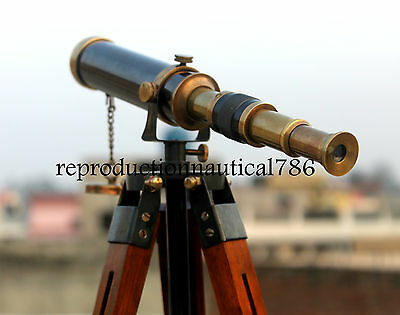 Collectible Marine Antique Brass Old Navy Spyglass Telescope With Stand Decor G