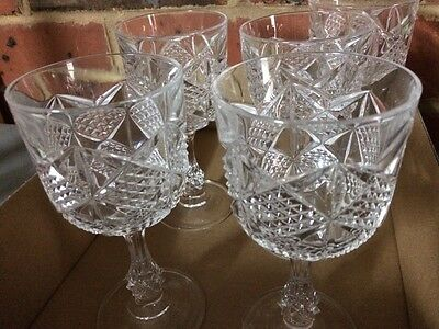 Crystal Wine Glasses. Almost New. 5 in total.
