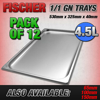 """""""BRAND NEW"""" 12 PACK OF 1/1 STAINLESS STEEL GASTRONORM TRAYS 530mm x 325mm x 40mm"""
