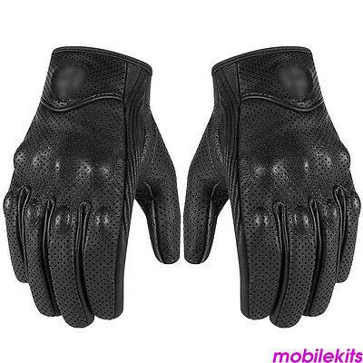 Mens Perforated Pursuit Street Stealth Leather Motorcycle Gloves Black M/L/XL