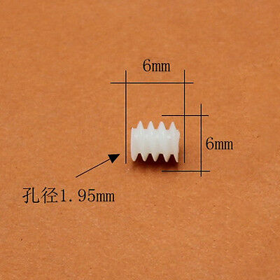 5PCS 6*10mm//6*15mm Lengthened plastic Worm Gear 0.5 Modulus 2mm Aperture DIY Toy
