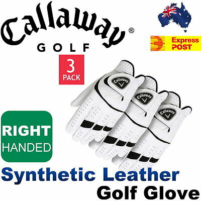 Callaway Premium Micro-Fiber Synthetic Leather Golf Glove 3-Pack - Right Handed