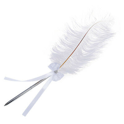 Bowknot Wedding Signing Pen White Ostrich Feather Pen with Diamante SN