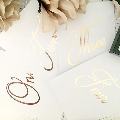 Gold Foil Table Number 1-12 Wedding Reception Rose Gold Copper Silver White Card