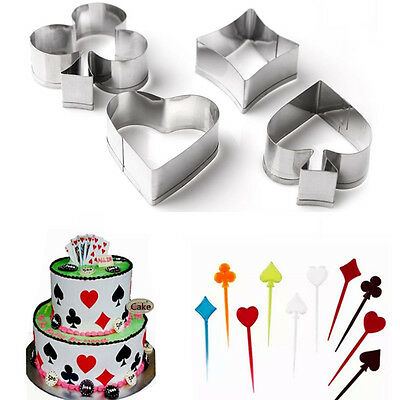 4pcs Stainless Steel Poker Biscuit Cookie Cutter Mold Cake Pastry Baking Mould