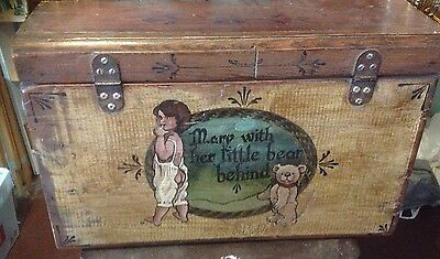 Rustic Wooden Chest With Teddy And Girl -  Mary With Her Little Bear, Timber