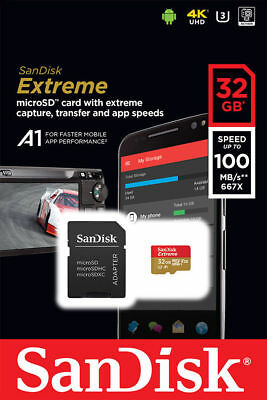32GB SanDisk Extreme micro SD HC Memory Card 100 Mb/s