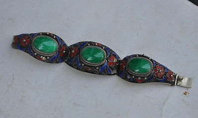 China's Tibet dynasty palace cloisonne silver inlaid jade bracelet, too NR