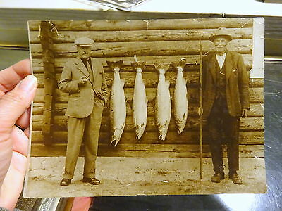 Large Vintage Angling Photo Silver Print Circa 1930s Men Salmon Catch Log Cabin