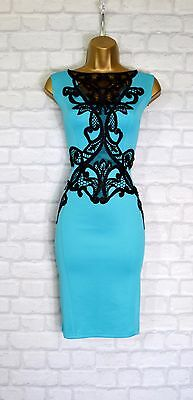 ~KIRA~ Teal Green Lace Floral Bodycon Evening Midi Pencil Party Dress 10 12 14