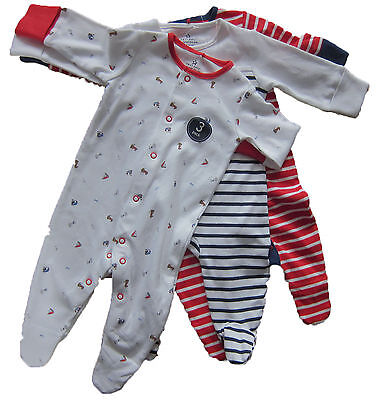 New Baby Boys White Red Blue NEXT Baby Grows x 3 Age Up to 3 Months