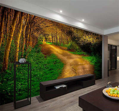 Late Autumn Forest Road Full Wall Mural Photo Wallpaper Print Kids Home 3D Decal