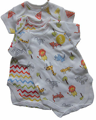 New White & Multi-Coloured NEXT Vests x 3 Age 3-6 Months