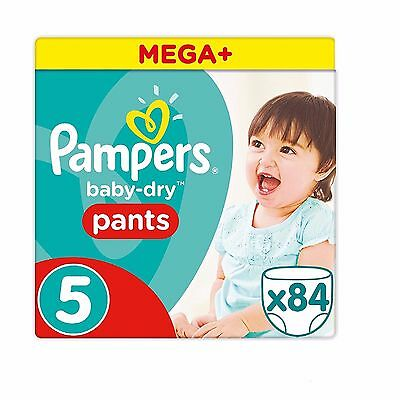Pampers Mega Plus Baby-Dry Pants - Size 5, Pack of 84 - FREE DELIVERY