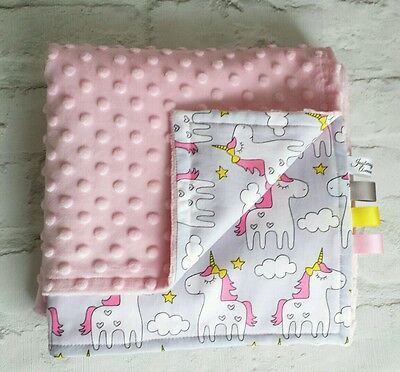 Baby Blanket - Handmade Baby Pink Minky plush - Unicorn 100% cotton.