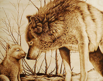 """Wolf Mom&pup """"snow Day With Mom"""" Original Animal Drawing-Pyrography/woodburning"""