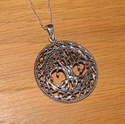 925 Sterling Silver Large Tree of Life Necklace Pendant Chain Pegan Wicca Boxed