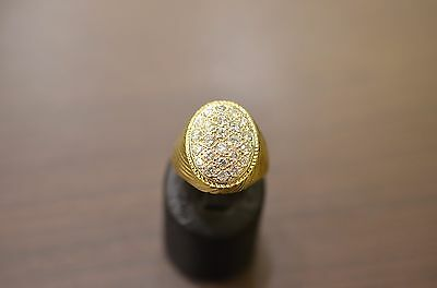 chevalière homme or 18 ct-diamants +-1.30ct-signet ring - gold 18kt -diamonds