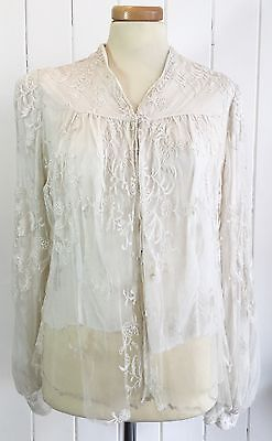 Antique Vintage Lace And Silk Bodice Bridal Size 8/10