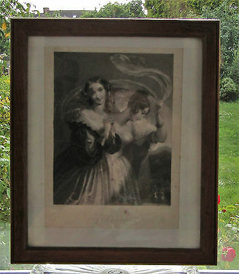 Antique Framed Engraving 1844 The Arrival by E T Parris Engraved J Thomson Lady