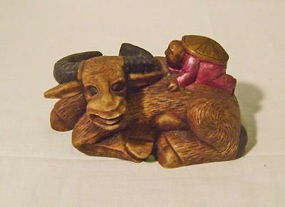 Carved Chinese Soapstone Figurine - Boy on Buffalo - hand coloured natural stone