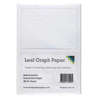 A5 Grid Paper Pack, 1cm 10mm Isometric Dotted Grid, 30 Loose-Leaf Sheets, Grey