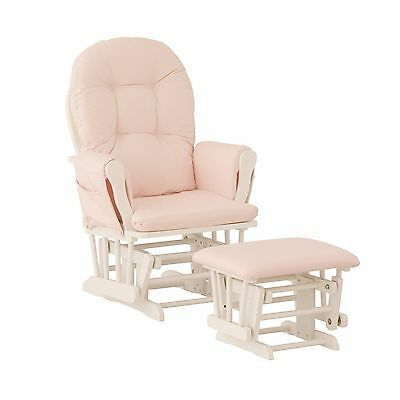 Stork Craft Hoop Glider and Ottoman White/Pink Pink