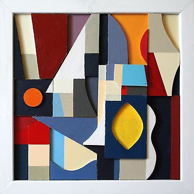 abstract contemporary art deco cubist modern original acrylic relief sculpture