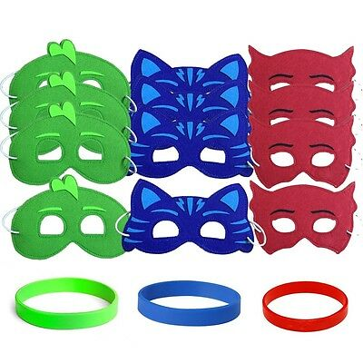 12 Childrens Favors Party Masks & Wristbands - Red, Green, Blue PJ Superheros