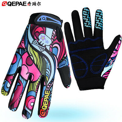 Qepae Racing Mountain Bike Gloves Full Finger Cycling Mitts Ladies Cycle Gloves
