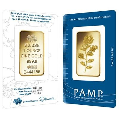 1 oz PAMP Suisse Gold Bar - Rosa (In Assay) .9999 Fine