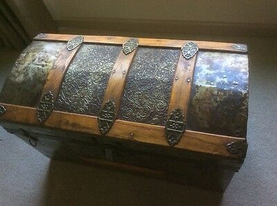 Antique Steamer Trunk Victorian Dome Top Wedding/Brides Chest