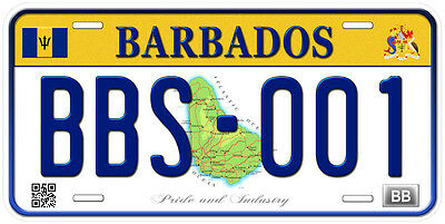 Barbados Aluminum Any Text Personalized Novelty Car License Plate